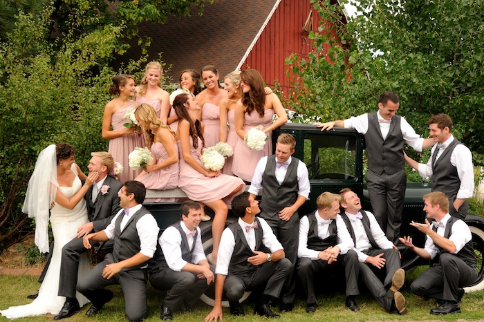 Creative group portrait of a wedding party by Darcy Kiefel Photography