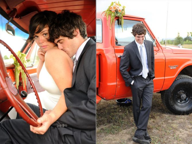 (left side) Groom kissing his bride on the shoulder in a truck with a red leather steering wheel. (Right side) Broom leaning against a red truck on his wedding day. beautiful-longmont-farm-wedding-hot-summers-day-kiefel-photography