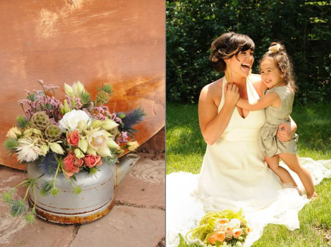Close up of rustic pot of flowers and bride play with little girl at her wedding in Longmont, Colorado beautiful-longmont-farm-wedding-hot-summers-day-kiefel-photography