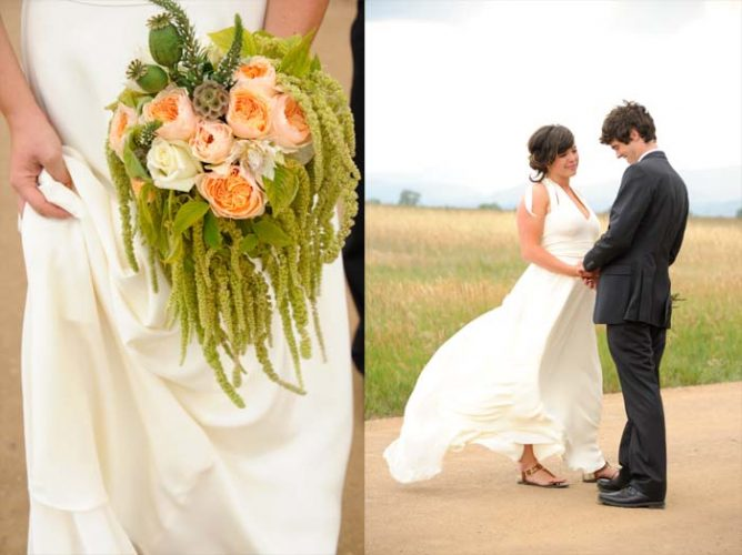 (Left side) Close up shot of a bridal bouquet. (Right side) Bride and groom together outside on their wedding day in Longmont, Colorado. beautiful-longmont-farm-wedding-hot-summers-day-kiefel-photography