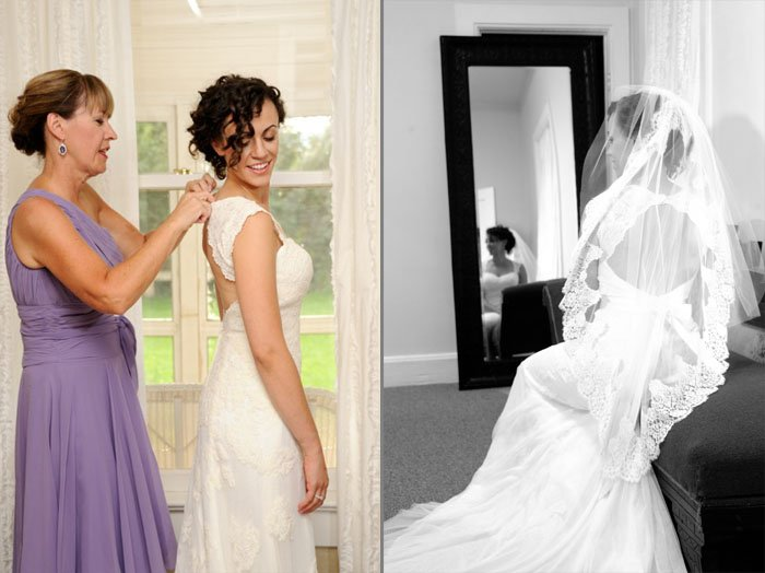 Pre-wedding bride getting ready with her mother and seated in front of a mirror