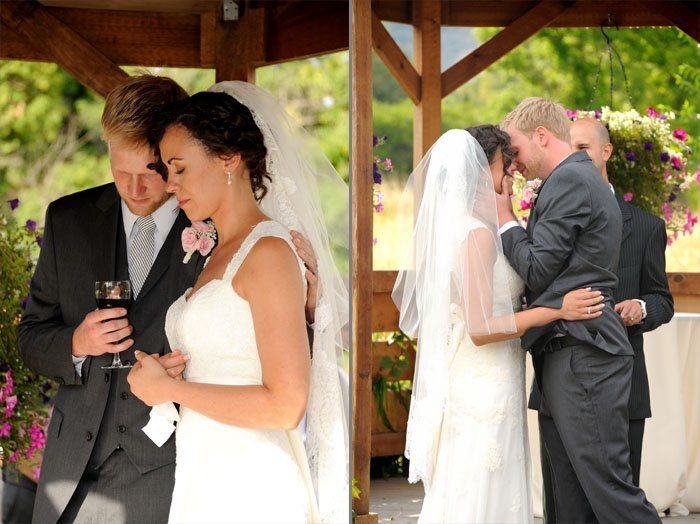 Bride and groom during their wedding ceremony in Littleton, Colorado