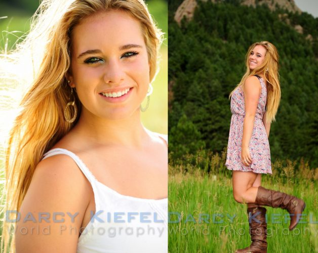 Beautiful lighting and beautiful woman during senior portraits in Boulder, Colorado check-holy-family-high-schools-maddie