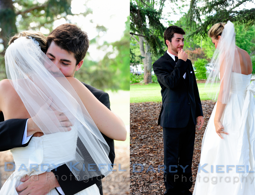 A special moment between the bride and groom as they see each other for the first time before the wedding
